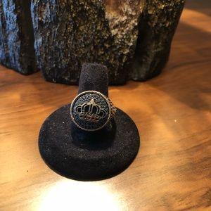 Men rings Crown, Black Zircon Stone  Silver